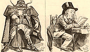 Ideal and Real': William Henry Smith (1825-1891), son of William Henry Smith (1792-1865), as Secretary of State for War as he might be seen by the Germans, and how he really was. English businessman and politician, he joined his father's newsagent business in 1846 and introduced the selling of books and newspapers at railway stations. Elected Conservative Member of Parliament for Westminster in 1868. In 1877 he was appointed First Lord of the Admiralty and is caricatured as Sir Joseph Porter who, in the Gilbert and Sullivan operetta 'HMS Pinafore', sings 'I always voted at my party's call,/And I never thought for myself at all./I thought so little, they rewarded me/By making me the Ruler of the Queen's Navee.'   During his three years is this position he was known as Pinafore Smith.  Cartoon by Harry Furniss (1854-1925) from 'Punch' (London, 23 October 1886).