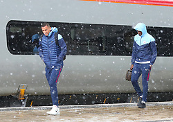 Danilo and Yaya Toure and The Manchester City team are seen at Manchester Piccadilly Train Station on Thursday morning as they make their trip to London to face Arsenal in the premier league