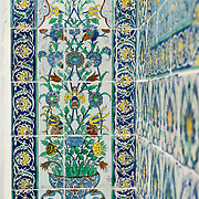 Ornate tiles decorating the walls of the Harem Mosque at Topkapi Palace. The Harem Mosque (Harem Mescidi) of Topkapi Palace was built in the 17th century as a prayer hall for the sultan's mother, daughters, and first consort, as well as senior women of the harem. The Imperial Harem was the inner sanctum of the Topkapi Palace where the Sultan and his family lived. Standing on a peninsular overlooking the Bosphorus Strait and Golden Horn, Topkapi Palace was the primary residence of the Ottoman sultans for approximately 400 years (1465–1856) of their 624-year reign.