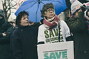 Cressingham Gardens tenants Anne Cooper attending the March for Homes demonstration on 31st January 2015 in South London, United Kingdom. March for homes is a campaign group which demand solutions to the housing crisis and better housing for Londoners.