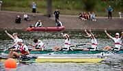 Glasgow, Scotland, Sunday, 5th  August 2018, Final Men's  Single Sculls, Gold  Medalist, GER M8+,  Bow,  GER M8+, Bow, Johannes WEISSENFELD, Felix WIMBERGER, Maximilian PLANER, Torben JOHANNESEN, Jakob SCHNEIDER, Malte JAKSCHIK, Richard SCHMIDT, <br /> Hannes OCIK and cox Martin SAUER,  European Games, Rowing, Strathclyde Park, North Lanarkshire, © Peter SPURRIER/Alamy Live News