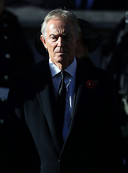 Former Prime Minister Tony Blair during the remembrance service at the Cenotaph memorial in Whitehall, central London, on the 100th anniversary of the signing of the Armistice which marked the end of the First World War.