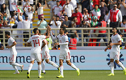 2019?1?12?.   ??????1???——D??????????.    1?12????????????.    ??????????????2019???????D??????????????.    ????????..(SP)UAE-AL AIN-SOCCER-AFC ASIAN CUP 2019-GROUP D-VNM VS IRN..(190112) -- ABU DHABI, Jan. 12, 2019  Iran's players celebrate after scoring during the 2019 AFC Asian Cup group D match between Vietnam and Iran at the Al Nahyan Stadium in Abu Dhabi, the United Arab Emirates, Jan. 12, 2019. (Credit Image: © Xinhua via ZUMA Wire)
