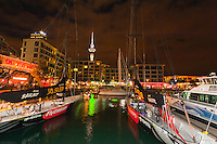 Viaduct Harbor, with the Sky Tower in background, Auckland, New Zealand