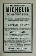 Printed advert for Michelin tyres in French 1895