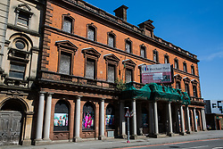 Cardiff, UK. 2nd May, 2017. The derelict Merchant Place building stands in the heart of Mount Stuart Square next to the Wales Millennium Centre at Cardiff Bay. It is a Grade II-listed former Post Office built in 1881.