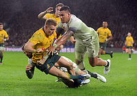 Rugby Union - 2017 Old Mutual Wealth Series (Autumn International) - England vs. Australia<br /> <br /> Nathan Hughes and Elliot Daly of England combine to stop Reece Hodge, at Twickenham.<br /> <br /> COLORSPORT/ANDREW COWIE