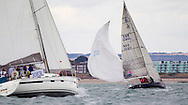Alamara B II struggles with her spinnaker during racing at  Aberdeen Asset Management Cowes Week. <br /> Picture date Tuesday 5th August, 2014.<br /> Picture by Christopher Ison. Contact +447544 044177 chris@christopherison.com