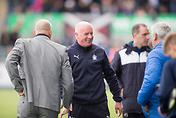 Morton's manager Jim Duffy and Falkirk's manager Peter Houston  at the end. <br /> Falkirk 1 v 0 Morton, Scottish Championship game  played 1/5/2016 at The Falkirk Stadium.