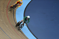 Jack Carlin of Great Britain and Jose Moreno Sanchez of Spain during the Men's Sprint 1/16 Finals during day three of the Tissot UCI Track Cycling World Cup at Lee Valley VeloPark, London.