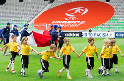 Young volunteers during the UEFA European Under-17 Championship Semifinal match between Germany and Poland on May 13, 2012 in SRC Stozice, Ljubljana, Slovenia. Germany defeated Poland 1-0 and qualified to finals. (Photo by Vid Ponikvar / Sportida.com)