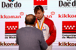 November 10, 2018 - Madrid, Madrid, Spain - Uekusa Ayumi (JPN) win the silver medal and get the second place of the tournament of Female Kumite 68+ Kg during the Finals of Karate World Championship celebrates in Wizink Center, Madrid, Spain, on November 10th, 2018. (Credit Image: © AFP7 via ZUMA Wire)
