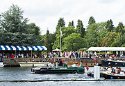 Henley-On-Thames, Berkshire, UK.,Saturday, 14.08.21, Working Boat, belonging to the Henley Course Builders, Cook Piling,   2021 Henley Royal Regatta, Henley Reach, River Thames, Thames Valley,  [Mandatory Credit © Peter Spurrier/Intersport Images],