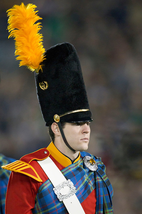 Notre Dame Irish Guard during halftime of NCAA football game between Notre Dame and USC.  The USC Trojans defeated the Notre Dame Fighting Irish 31-17 in game at Notre Dame Stadium in South Bend, Indiana.