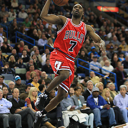 04 February 2009: Chicago Bulls guard Ben Gordon (7) drives to the basket during a 93-107 loss by the New Orleans Hornets to the Chicago Bulls at the New Orleans Arena in New Orleans, LA.