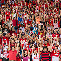Singapore fans cheer prior to the group stage match of the AFF Suzuki Cup between Singapore and Thailand at the National Stadium at the Singapore Sports Hub on November 23, 2014, in Singapore.