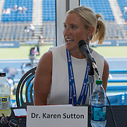 August 16, 2014, New Haven, CT:<br /> Panelist Dr. Karen Sutton speaks during the Aetna Symposium on day four of the 2014 Connecticut Open at the Yale University Tennis Center in New Haven, Connecticut Monday, August 18, 2014.<br /> (Photo by Billie Weiss/Connecticut Open)