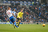 Burton Albion midfielder Lasse Vigen Christensen (24) chases the ball during the EFL Sky Bet Championship match between Brighton and Hove Albion and Burton Albion at the American Express Community Stadium, Brighton and Hove, England on 11 February 2017. Photo by Richard Holmes.