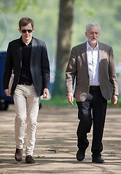 © Licensed to London News Pictures. 15/05/2016. London, UK.  Labour party leader Jeremy Corbyn (R) walks with his Executive Director of Strategy and Communications Seumas Milne before appearing on ITV's Peston's Politics. Photo credit: Peter Macdiarmid/LNP