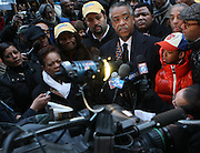 20 February 2009 NY, NY - Rev. Al Sharpton surrounded by supporters at Day 2 of New York Post Protest by Rev. Al Sharpton and The National Network against offensive cartoon depicting dead Chimpanzee as President Obama.