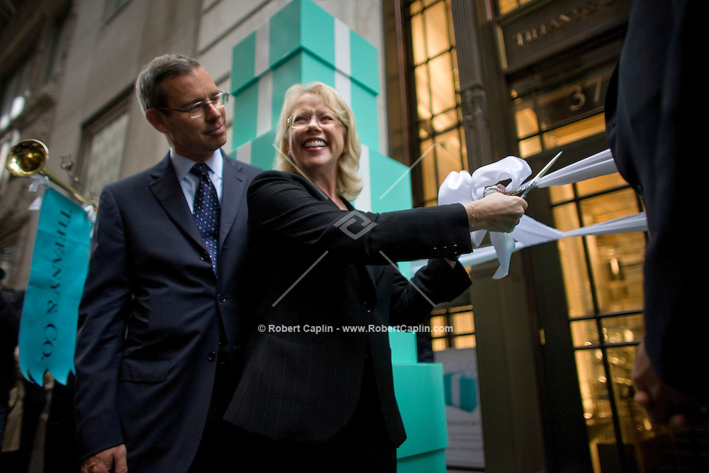 Tiffany & Co. CEO Michael Kowalski, left, and  Executive Vice President Beth Canavan cut the opening ribbon outside the new Wall Street location Oct. 10, 2007 the day Tiffany & Co. went public and for the ribbon cutting of their new Wall Street store in New York.
