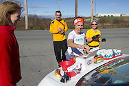 Goshen, New York - Runners stop for food and drink at an aid station during the Hambletonian Marathon fun run on Nov. 4, 2012. The run was put together for runners who had trained for the New York City Marathon, which was cancelled because of Hurricane Sandy.