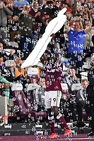Football - 2021 / 2022 Premier League - West Ham United vs Leicester City - London Stadium - Monday 23rd August 2021<br /> <br /> West Ham United's Michail Antonio celebrates scoring his side's third goal with a cut out of himself.<br /> <br /> COLORSPORT/Ashley Western
