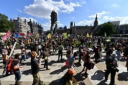 © Licensed to London News Pictures. 01/09/2020. Protesters take part in a demonstration organised by the environmental group Extinction Rebellion. The group are calling for MPs to support  The Climate and Ecological Emergency Bill (CEE Bill).London, UK. Photo credit: London News Pictures