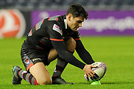 Sam Hidalgo-Clyne lines up ball for penalty the European Rugby Challenge Cup match between Edinburgh Rugby and Stade Francais at Murrayfield Stadium, Edinburgh, Scotland on 12 January 2018. Photo by Kevin Murray.