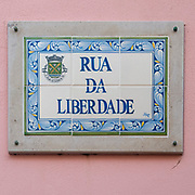 Painted ceramic street sign of Rua da Liberdade, Figueira da Foz, Portugal