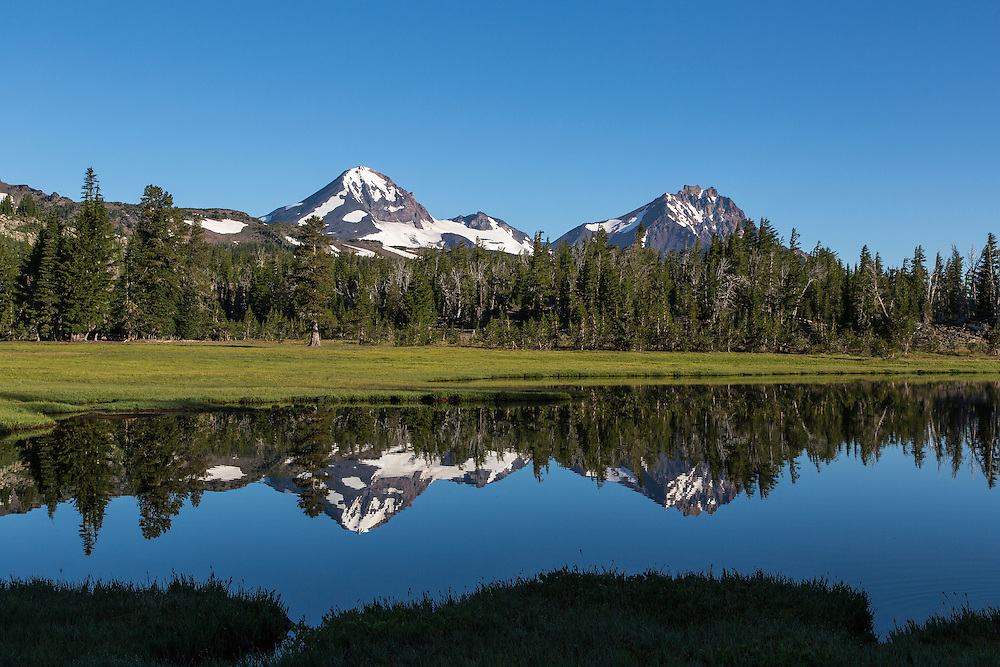 Middle & North Sister and Reflections in Golden Lake