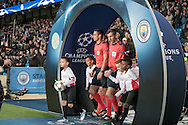 Slavko Vinčić (Referee) leads the two teams out before the Champions League match between Manchester City and Celtic at the Etihad Stadium, Manchester, England on 6 December 2016. Photo by Mark P Doherty.