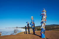 Russie, Siberie, Oblast d'Irkoutsk, lac Baikal, Maloe More ( petite mer), le lac gelé pendant l'hiver, ile d'Olkhon, les rochers du Chaman // Russia, Siberia, Irkutsk oblast, Baikal lake, Maloe More (little sea), frozen lake during winter, Olkhon island, Shaman rock