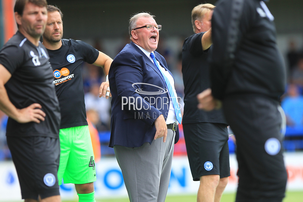 Steve Evans during the EFL Sky Bet League 1 match between Rochdale and Peterborough United at Spotland, Rochdale, England on 11 August 2018.