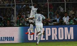 October 8, 2017 - Kolkata, W.B, India - England mid fielder Callum Hudsian Oddoi enjoys after scoring ist goal  during the FIFA  u17 World Cup (Credit Image: © Sandip Saha/Pacific Press via ZUMA Wire)
