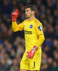 """Brighton & Hove Albion goalkeeper Mathew Ryan during the Premier League match at the AMEX Stadium, Brighton. PRESS ASSOCIATION Photo. Picture date: Friday October 5, 2018. See PA story SOCCER Brighton. Photo credit should read: Gareth Fuller/PA Wire. RESTRICTIONS: EDITORIAL USE ONLY No use with unauthorised audio, video, data, fixture lists, club/league logos or """"live"""" services. Online in-match use limited to 120 images, no video emulation. No use in betting, games or single club/league/player publications."""