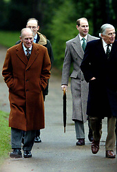 File photo dated 01/01/06 of The Duke of Edinburgh (left) with the Earl of Wessex (second right) and Christopher Rhys-Jones (right) arriving at St Mary Magdalene Church on the Sandringham Estate to attend New Year's Day Sunday service. The Duke of Edinburgh has died, Buckingham Palace has announced. Issue date: Friday April 9, 2020.. See PA story DEATH Philip. Photo credit should read: Chris Radburn/PA Wire