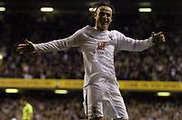 Photo: Olly Greenwood.<br />Tottenham Hotspur v FC Braga. UEFA Cup. 14/03/2007. Spurs Dimitar Berbatov celebrates scoring his secong goal