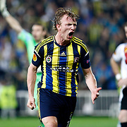 Fenerbahce's Dirk Kuyt celebrates his goal during their UEFA Europa League Quarter Final first match Fenerbahce between Lazio at Sukru Saracaoglu stadium in Istanbul Turkey on Thursday 04 April 2013. Photo by Aykut AKICI/TURKPIX