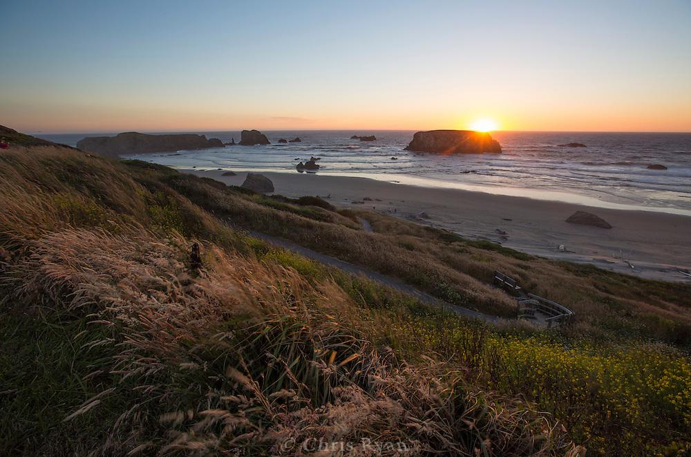Pacific coast at sunset near Bandon, Oregon