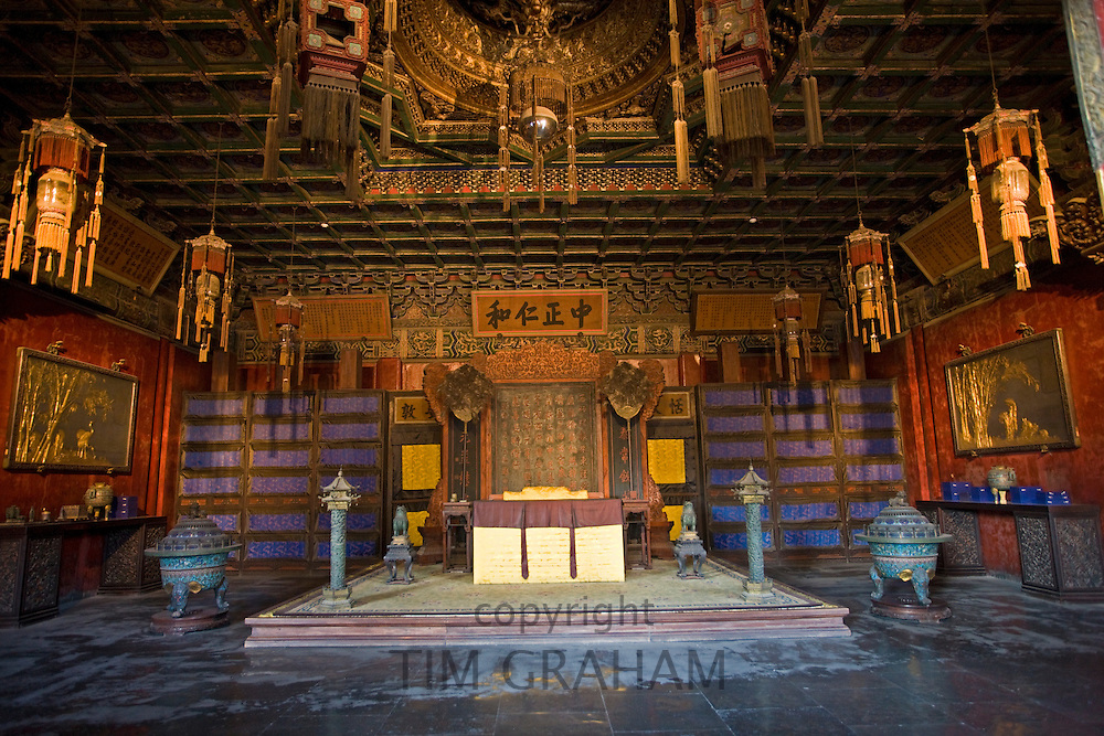 Imperial Throne in the Emperor's Office, The Forbidden City, Beijing, China
