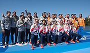"Rio de Janeiro. BRAZIL     GBR M8+. Gold Medalist Bow. Bow. <br /> Scott DURANT, Tom RANSLEY, T Andrew T<br /> HODGE,  Matt GOTREL,  Pete REED,  Paul<br /> BENNETT,  Matt LANGRIDGE,   William SATCH and Cox. Phelan HILL, at the, 2016 Olympic Rowing Regatta. Lagoa Stadium, Copacabana,  ""Olympic Summer Games""<br /> Rodrigo de Freitas Lagoon, Lagoa. Local Time 12:14:37  Saturday  13/08/2016<br /> [Mandatory Credit; Peter SPURRIER/Intersport Images]"