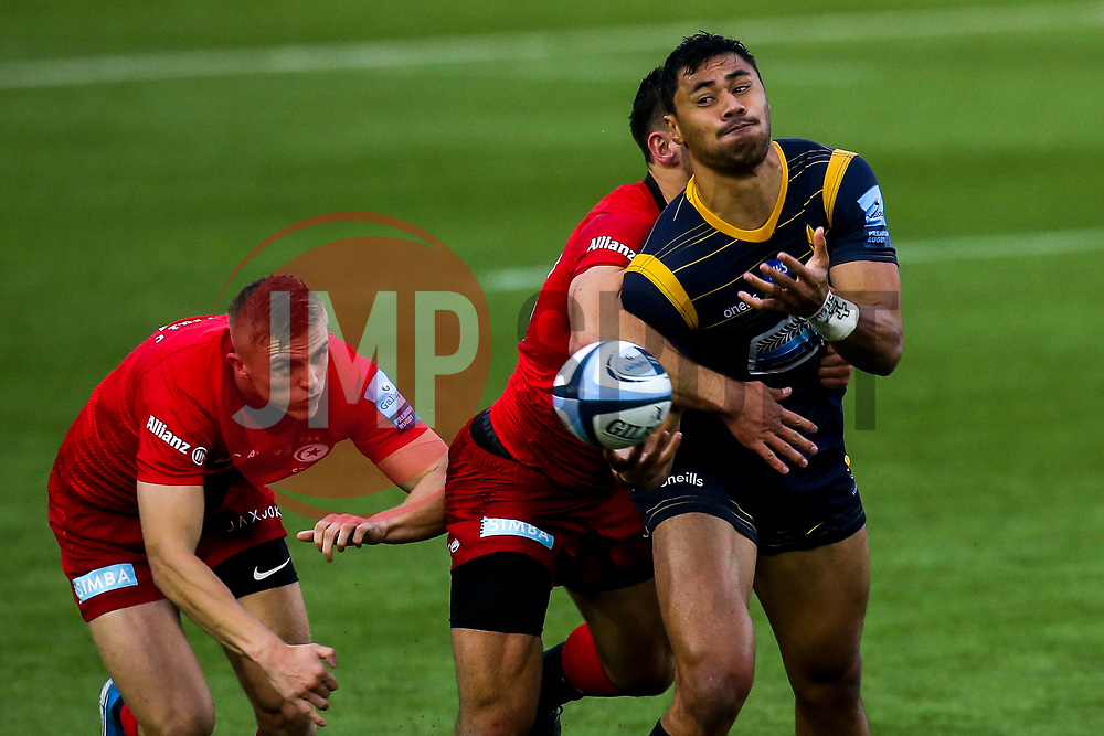 Melani Nanai of Worcester Warriors is tackled - Mandatory by-line: Robbie Stephenson/JMP - 30/09/2020 - RUGBY - Sixways Stadium - Worcester, England - Worcester Warriors v Saracens - Gallagher Premiership Rugby