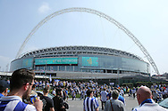 a General view of outside Wembley Stadium as fans make their way in before k/o. Skybet football league Championship play off final match, Hull city v Sheffield Wednesday at Wembley Stadium in London on Saturday 28th May 2016.<br /> pic by John Patrick Fletcher, Andrew Orchard sports photography.