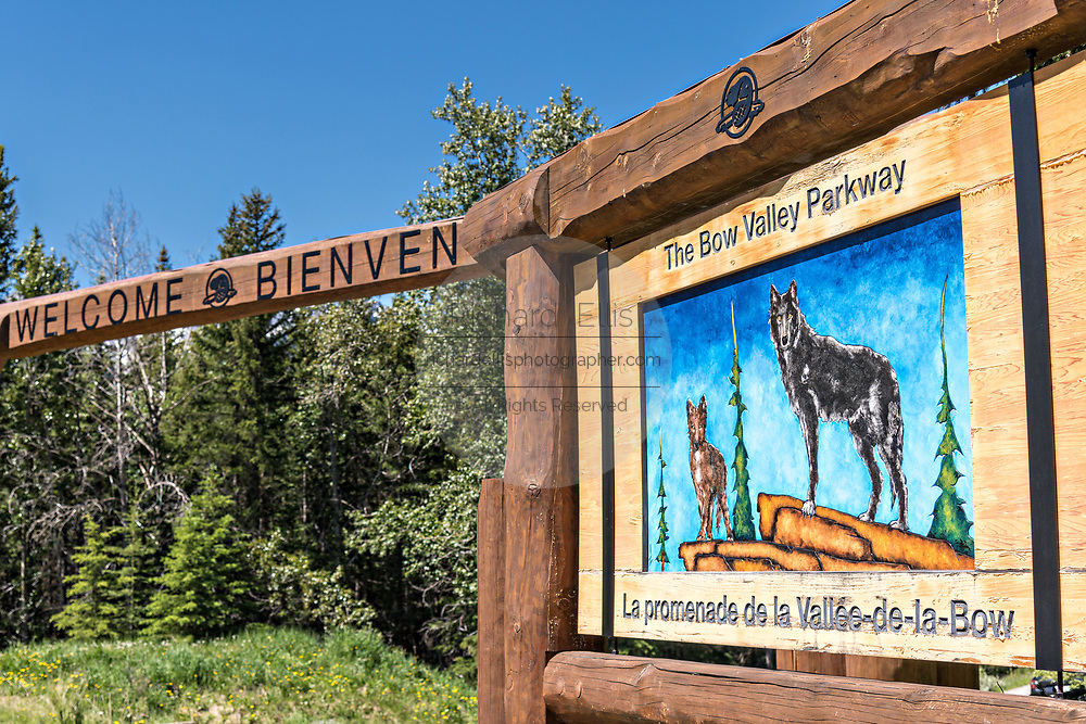 Sign welcoming visitors to the Bow Valley Parkway in Banff National Park in Alberta, Canada.