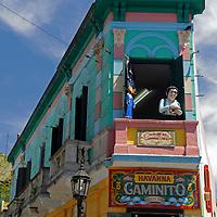 South America, Argentina, Buenos Aires. Landmark building on corner of Havana Caminito in La Boca.
