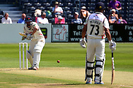 Karl Brown about to play a shot during the LV County Championship Div 2 match between Gloucestershire County Cricket Club and Lancashire County Cricket Club at the Bristol County Ground, Bristol, United Kingdom on 7 June 2015. Photo by Alan Franklin.