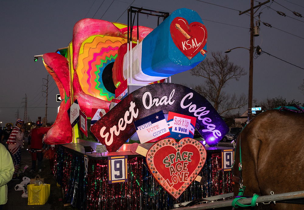 2020 electon parody  on af loat in the Krewe du Vieux, a Mardi Gras Parade in New Orleans know for its raunchy satire.