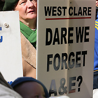 Mary McAloone at the hospital protest rally in Ennis on Satruday.<br /> Photograph by Yvonne Vaughan