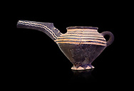 """Minoan Vasiliki Ware long spouted """"teapots"""", Vasiliki 2300-1900 BC BC, Heraklion Archaeological  Museum, black background. .<br /> <br /> If you prefer to buy from our ALAMY PHOTO LIBRARY  Collection visit : https://www.alamy.com/portfolio/paul-williams-funkystock/minoan-art-artefacts.html . Type -   Heraklion   - into the LOWER SEARCH WITHIN GALLERY box. Refine search by adding background colour, place, museum etc<br /> <br /> Visit our MINOAN ART PHOTO COLLECTIONS for more photos to download  as wall art prints https://funkystock.photoshelter.com/gallery-collection/Ancient-Minoans-Art-Artefacts-Antiquities-Historic-Places-Pictures-Images-of/C0000ricT2SU_M9w"""